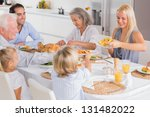 happy family eating the... | Shutterstock . vector #131482022