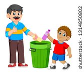 father and his son collecting... | Shutterstock . vector #1314850802