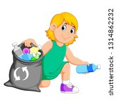 woman collecting rubbish | Shutterstock .eps vector #1314862232
