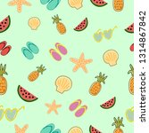 seamless pattern with summer... | Shutterstock .eps vector #1314867842