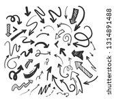 set of arrow doodle on white...   Shutterstock .eps vector #1314891488