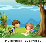 illustration of a boy with a... | Shutterstock . vector #131490566