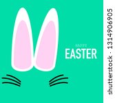 happy easter text and rabbit  ... | Shutterstock .eps vector #1314906905