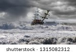 Sailing Old Ship In A Storm Sea ...