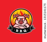 mascot of pig for bbq in badge...   Shutterstock .eps vector #1315141175