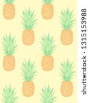 fresh pineapples on yellow.... | Shutterstock .eps vector #1315153988