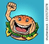 joyful character fast food...