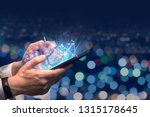 using a mobile phone to use the ... | Shutterstock . vector #1315178645