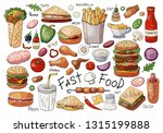 big set of fast food color... | Shutterstock .eps vector #1315199888
