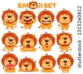 set of emoji lion cat cartoon...   Shutterstock .eps vector #1315260812