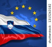 slovenia  flag of silk with... | Shutterstock . vector #1315263182