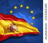 spain flag of silk with... | Shutterstock . vector #1315263185