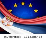 serbia flag of silk with... | Shutterstock . vector #1315286495