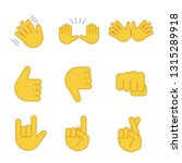 hand gesture emojis color icons ... | Shutterstock .eps vector #1315289918