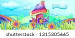 mushroom houses in the garden... | Shutterstock .eps vector #1315305665