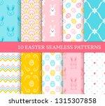 ten different easter seamless...   Shutterstock .eps vector #1315307858