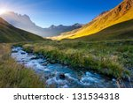 Beautiful view of mountain river in summer. Juta village - foot of Mt Chaukhebi. Georgia, Europe. Caucasus mountains. Beauty world. - stock photo