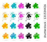 Colorful Puzzle Pieces Isolate...