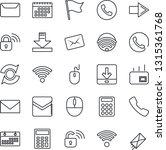 thin line icon set   phone...