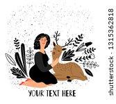 girl with deer animal. cartoon... | Shutterstock .eps vector #1315362818