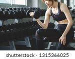 fitness asian woman doing... | Shutterstock . vector #1315366025