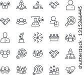 thin line icon set   handshake... | Shutterstock .eps vector #1315366445