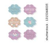 set of 6 vector easter flower... | Shutterstock .eps vector #1315368035