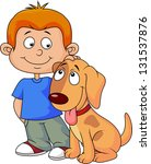 boy and puppy | Shutterstock .eps vector #131537876