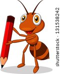 Ant Cartoon With Red Pencils