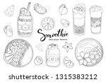 smoothie bowl doodles set.... | Shutterstock .eps vector #1315383212