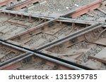 diamond crossing of rail tracks....   Shutterstock . vector #1315395785