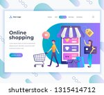 landing page template social... | Shutterstock .eps vector #1315414712
