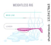 weightless rig fishing tackle... | Shutterstock .eps vector #1315417865