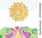 sun and flowers. vector... | Shutterstock .eps vector #1315424408
