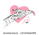 adorable giraffe with a pink... | Shutterstock .eps vector #1315466498