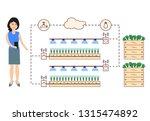 woman controls the smart farm... | Shutterstock .eps vector #1315474892