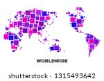 mosaic worldwide map isolated... | Shutterstock .eps vector #1315493642