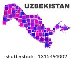 mosaic uzbekistan map isolated... | Shutterstock .eps vector #1315494002