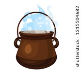 boiling cauldron icon. cartoon... | Shutterstock .eps vector #1315504682