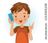 small boy using mobile phone to ... | Shutterstock .eps vector #1315505258