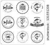 set of made with fish stamps ... | Shutterstock .eps vector #131551208