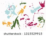 hand drawn set of colorful ink... | Shutterstock .eps vector #1315529915