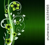 Green Floral Vector Background...