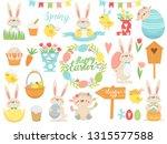 happy easter.  set of easter... | Shutterstock .eps vector #1315577588