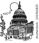 Stock vector us capitol building retro clip art illustration 131561825