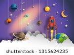 paper art style of rocket... | Shutterstock .eps vector #1315624235