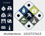 tourist icon set. 13 filled... | Shutterstock .eps vector #1315727615