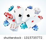 playing cards chips dice.... | Shutterstock .eps vector #1315735772