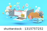 laptop   browser and file...   Shutterstock . vector #1315757252