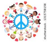 kids love peace conceptual.... | Shutterstock .eps vector #1315758158